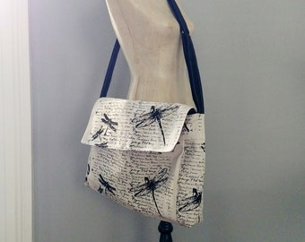 XL Dragonfly Fabric Messeneger Bag - Hand Printed - 6 Pockets