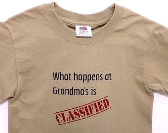 Military Humor T-shirt / Classified Top Secret Humor / Khaki Green / Funny Child's T-shirt
