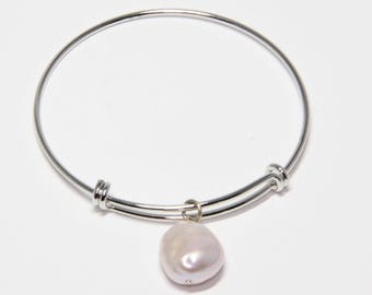 Bracelet, Lustrous Pink Pearl Charm Rhodium Plated Brass Silver Adjustable Bangle Bracelet, Artisan Designed  | MAE jewelry