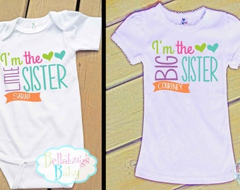 Big Sister Little Sister Outfit - Bodysuit or Tshirt - Photo prop - Newborn - Matching Sister Shirts