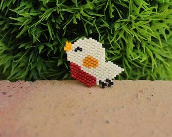 Bird brooch with miyuki beads fall color