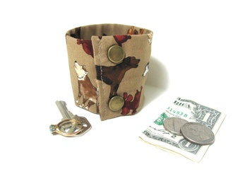 Secret Stash Money  Wrist Cuff - Howling Dogs- stash your cash, house key, etc in a inside HIDDEN  zipper