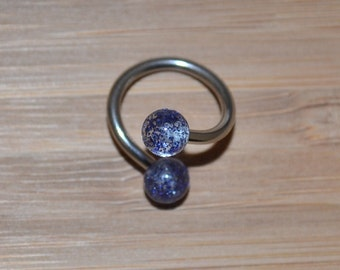 Blue Glitter Balls Twist Barbell Body Piercing Jewelry