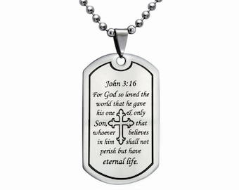Personalized Stainless Steel Dog Tag  Necklace, Dog Tag Necklace with Bead Chain