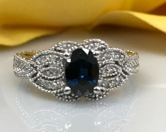 Sapphire and Diamond Vintage Look  Engagement Wedding Anniversary Ring 14k White Gold #1599