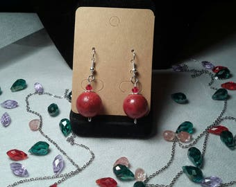 Real red coral earrings