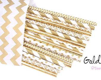 Gold Foil Straws -Gold Wedding party supplies -Gold Straws -Gold Foil Straws -Gold Shower -Gold Paper Straws - Gold Polkadots - Cake Pops