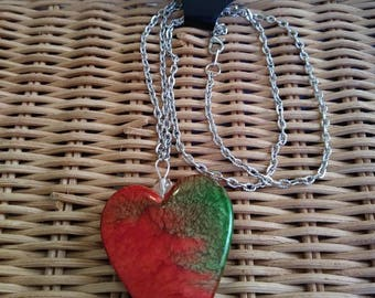Red and Green Big Heart Necklace