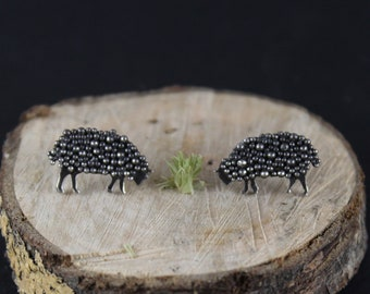 Sheep Earrings / Sheep Studs / Sheep Jewelry / Sheep Lover / Sheep / Animal Jewelry / Farm Animal Jewelry / Vegan Jewelry / Black Sheep