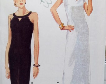 Misses' Pullover Dress Vogue 9648 Easy Sewing Pattern Sleeveless A-line or Tapered Dress, Keyhole Neckline, Mid-Knee Size 6 - 10 UNCUT