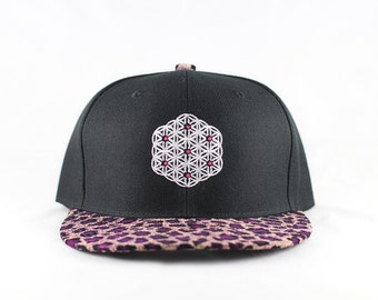The Circle of Life Sacred Geometry Cheetah Print Snapback Hat