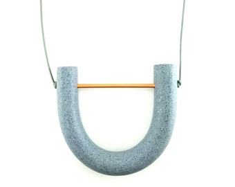 Monochromatic Necklace/ Speckled Gray Tube Pendant Necklace