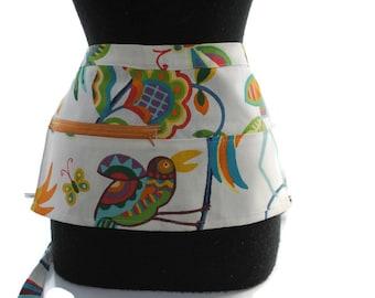 Vendor Apron Server Apron Travel Apron Birds and Flowers Toucan Cotton Twill