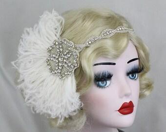 Ivory White Feather Headband, Bridal Head Piece, 1920's Flapper, Hair Accessory, Crystal Head Dress, Feather Fascinator, Bridal Fascinator