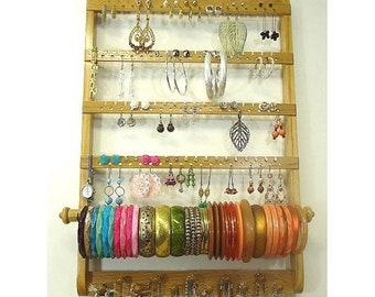 ON SALE Earring Holder Bracelet Bangle, Necklace Organizer, Jewelry Organizer Display, Gorgeous Oak Wood, Wall Mounted, Honey Stained Hardwo