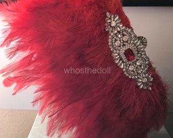 Clutch  purse/Gatsby bag/1920s purse/Flapper bag/Rhinestone bag/evening purse/Formal bag/Rooster bag/Red purse