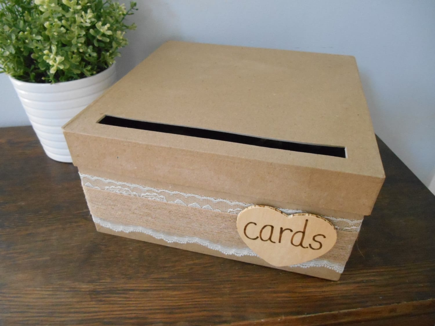 wedding gift card holders%0A Rustic Wedding Card Box With Lace And Burlap Wedding Reception