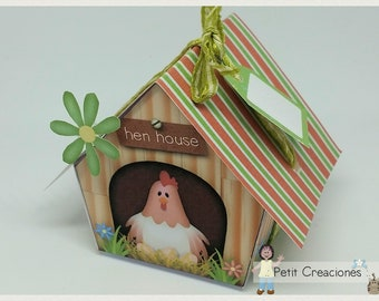 "PRINTABLE GIFT box ""Hen house"" DIY, treat box, place holder, gift idea for Easter"
