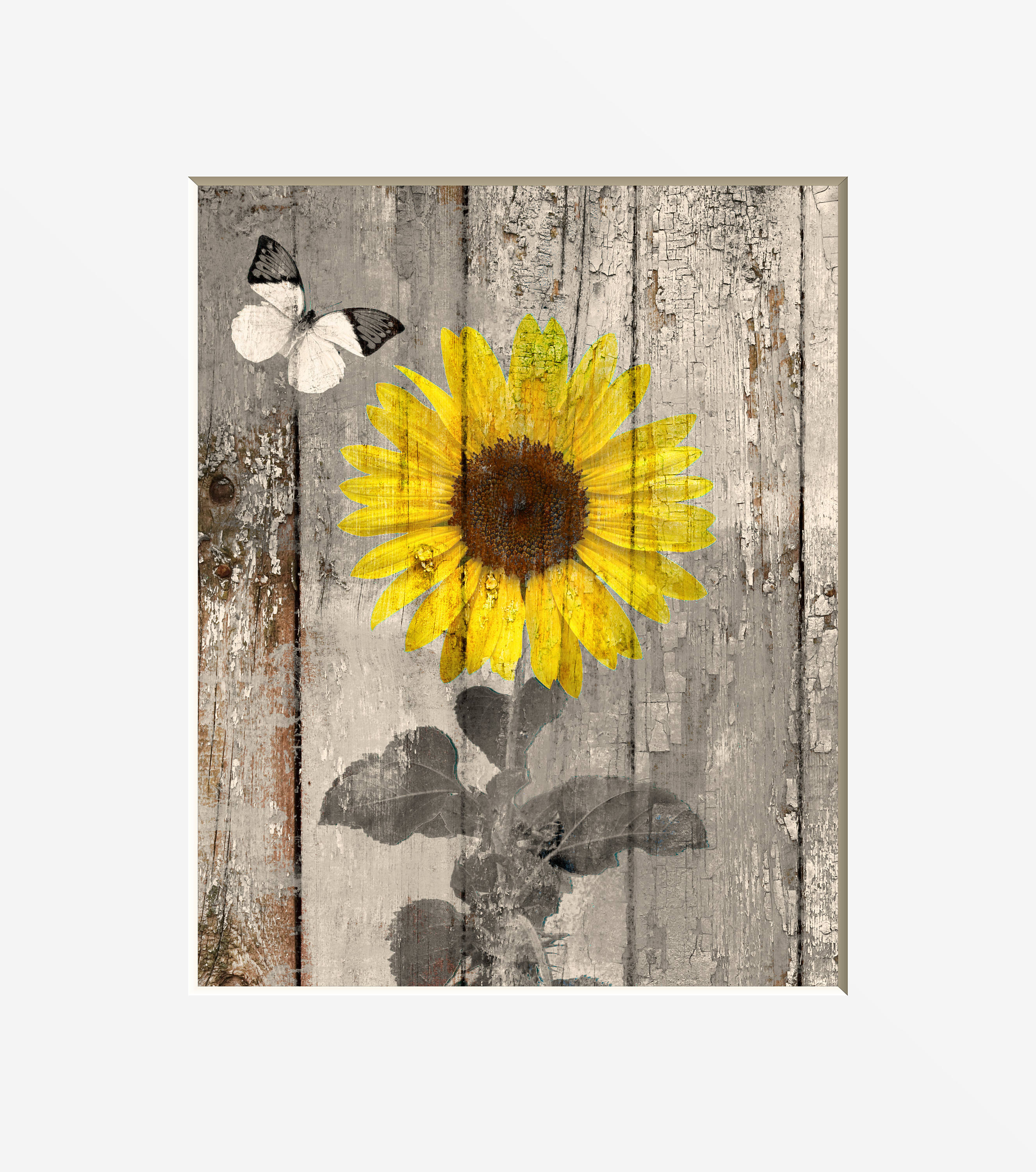 Rustic Country Farmhouse Sunflower Butterfly Home Decor Wall