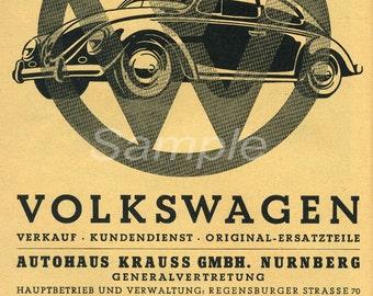 VB02 Vintage VW Volkswagen Beetle Advertising Poster Print