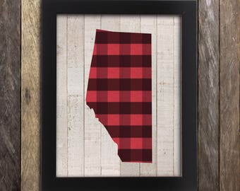 Alberta Map Print- Calgary Edmonton Red Deer Canada - Canadian Buffalo Plaid Province Poster - Home Decor - Canadiana - Made in Canada