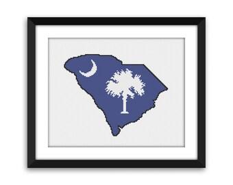 PDF - South Carolina Flag Outline Cross Stitch Pattern
