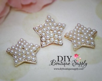 Rose Gold PEARL Stars buttons Crystal Embellishment Flatback for Headbands flower centers invitations bouquets 23mm 546025