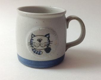 Vintage Otagiri Cat Medallion Mug, Brown, Blue Japanese Stoneware Mug