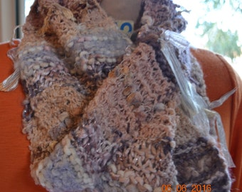 RusticInfinityScarf HandKnitCowl PeachMapleMultiColourInfinity BeautifulGift  FeminineScarf