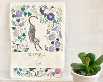 Letter paper set, letter writing set, with watercolour illustration of cats, cats and botanical,レターセット,イラスト,便箋