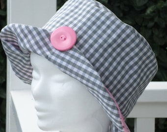 summer Hat/designer/child /lin Sun Hat ' eva/girl/pink and grey/spring summer/birthday/wedding/party with family