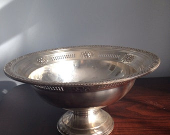 Vintage Weighted Sterling Silver Flower Scrolls Footed Compote Bowl, 1lb 1 5/8 oz