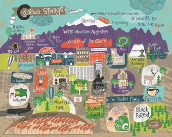 Map of Colorado Springs Art Print 11 x 14