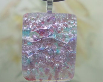 Pink Frost Dichroic Pendant, Fused Glass Jewelry Handmade in North Carolina