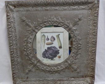 AUTHENTIC Vintage Silver Tin Ceiling Mirror Shabby Recycled CHIC 9898