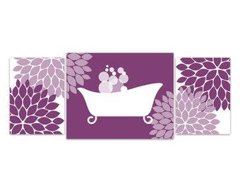 Bathroom Wall Art, Purple Bathroom Decor, INSTANT DOWNLOAD, Flower Burst Bathtub Art, Home Decor, Bathroom Wall Decor - BATH59
