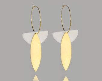 White ceramic hoop earrings with gold - made in France - porcelain jewelry