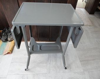 Toledo Guild Folding Sides Typewriter Table Gray Metal Industrial Cart Microwave Stand