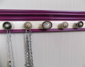 YOU CHOOSE 5,7 Or 9 KNOBS Jewelry hanger. Wall necklace holder in Plum color w/ embossed center Regal look. gift of jewelry storage & decor