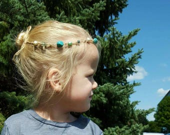Beaded Feather Tieback ~ Headband ~ Halo ~ One Size ~ Jute ~ Turquoise ~ Wild One ~ Natural ~ Baby ~ Toddler ~ Girl ~ Photo Prop ~ Sea Foam