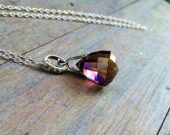 Bolivian Ametrine pendant Necklace Pave Sterling Silver.  Purple yellow stone solitaire.  Elegant Jewelry - Gift for wife.