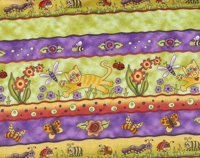 Cats in the Garden 100% cotton fabric, sold by the yard   #150
