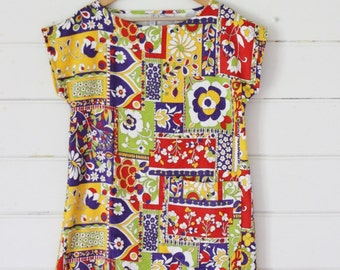 Womens Vintage Terry Towelling Tunic Beach Dress Retro Mod Psychadelic Sixties Bold Lime Red Purple Yellow Floral Petite XS
