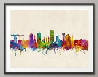 Plymouth Skyline, Plymouth Devon Cityscape Art Print (3145)