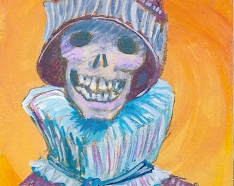 Skull Skeleton Day of the Dead Original Painting  ACEO Art card Turtleneck