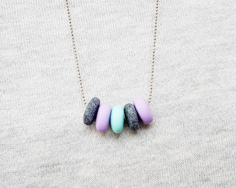 Purple necklace, Grey necklace, Mint necklace, Pastel necklace, Statement necklace, Chunky necklace, Polymer clay necklace, Gift for her