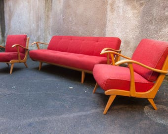 Living room set Scandinavian sofa daybed + 2 matching chairs