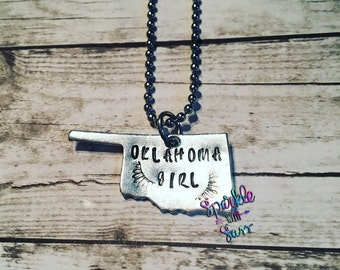 Oklahoma Girl, hand stamped necklace, gifts for her, christmas gift, gifts for teen