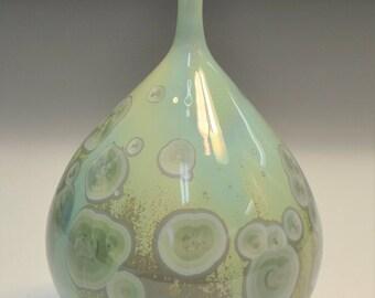 Light Green Crystalline Glazed Pottery Bottle
