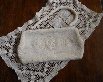Vintage Walborg White Beaded Evening Bag Clutch Rhinestone Clasp Beaded Handle  circa 1950's